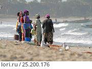 Купить «Women waiting on beach for fishing boats, Tanji Beach, Gambia, West Africa, November 2012.», фото № 25200176, снято 9 июля 2020 г. (c) Nature Picture Library / Фотобанк Лори