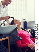 Купить «happy young woman at hair salon», фото № 25205632, снято 15 февраля 2015 г. (c) Syda Productions / Фотобанк Лори