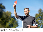 Купить «referee on football field showing yellow card», фото № 25207944, снято 18 сентября 2016 г. (c) Syda Productions / Фотобанк Лори