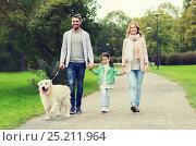 Купить «happy family with labrador retriever dog in park», фото № 25211964, снято 20 сентября 2015 г. (c) Syda Productions / Фотобанк Лори