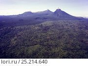 Купить «Virunga Massif Volcano Range (from left to right: Mount Visoke, Mount Karisimbi and Mount Mikeno) and adjoining forests, isolated and surrounded by human...», фото № 25214640, снято 5 апреля 2020 г. (c) Nature Picture Library / Фотобанк Лори