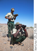 Купить «Save the Rhino Trust trackers on patrol in the field, from Ugab river camp, Save the Rhino Trust, Damaraland, Namibia, May 2013», фото № 25215308, снято 23 мая 2018 г. (c) Nature Picture Library / Фотобанк Лори