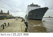 Купить «HNLMS Johan de Witt (L801I) a Royal Dutch Navy Landing Platform Dock (LPD) amphibious warfare ship, berthing alongside the Cruise Liner Terminal, Liverpool...», фото № 25221908, снято 6 июля 2020 г. (c) Nature Picture Library / Фотобанк Лори