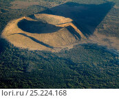 Купить «A small volcanic cone with crater, that has been split by two faults. The eruption was caused by the  faults, and the faults continued to move after the...», фото № 25224168, снято 26 апреля 2018 г. (c) Nature Picture Library / Фотобанк Лори