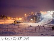 Купить «lluminated ski slopes at night, Ruka, Lapland, Finland», фото № 25231080, снято 20 мая 2019 г. (c) Nature Picture Library / Фотобанк Лори