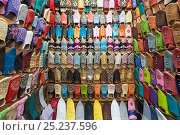 Купить «Soft leather Moroccan slippers in the Souk, Medina, Marrakech, Morocco, 2011», фото № 25237596, снято 20 августа 2018 г. (c) Nature Picture Library / Фотобанк Лори