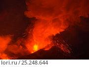 Купить «Ash and lava erupting from Plosky Tolbachik Volcano, Kamchatka Peninsula, Russia, 15 December 2012», фото № 25248644, снято 9 декабря 2019 г. (c) Nature Picture Library / Фотобанк Лори