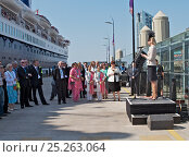 Купить «Lady Derby giving a speech about Liverpool's maritime heritage, prior to the departure of the 'Ocean Countess', making history as the first cruise ship...», фото № 25263064, снято 17 августа 2018 г. (c) Nature Picture Library / Фотобанк Лори
