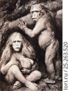 Pithecanthropus europeaus alalus (european speechless ape-man) by Gabriel Max, 1894, reproduced as Photogravure Plate 29 in Ernst Haeckel 'Naturliche Schopfungs... Стоковое фото, фотограф Paul D Stewart / Nature Picture Library / Фотобанк Лори