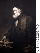 Portrait of Richard Owen (20, July 1804- 18 December 1892), 1889 mezzotint by H.J. Thaddeus with contemporary face but pose taken from an earlier 1852... Стоковое фото, фотограф Paul D Stewart / Nature Picture Library / Фотобанк Лори