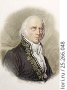 Jean Baptiste Lamarck (1 August 1744 - 18 December 1829) portrait when old and blind. A later hand coloured frontis engraving by Lizars from his Cabinet... Стоковое фото, фотограф Paul D Stewart / Nature Picture Library / Фотобанк Лори