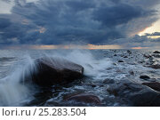 Купить «Waves crashing onto beach rock under dark clouds. Hiiumaa Island, Estonia, Europe, August 2011.», фото № 25283504, снято 17 августа 2018 г. (c) Nature Picture Library / Фотобанк Лори
