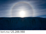 Купить «'Sun Dog', or Parhelion, caused by refraction of the sun's rays, more commonly seen in Antarctica, above glacier, Dry Valleys, Antarctica, December 2009...», фото № 25288988, снято 23 июля 2018 г. (c) Nature Picture Library / Фотобанк Лори