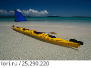 Купить «Kayak with small sail in translucent water, Solomon Islands, Melanesia, August 2008.», фото № 25290220, снято 19 июля 2018 г. (c) Nature Picture Library / Фотобанк Лори