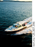 Купить «Hinckley T38 speedboat travelling at speed. Rhode Island, USA, August 2008. All non-editorial uses must be cleared individually.», фото № 25307396, снято 15 августа 2018 г. (c) Nature Picture Library / Фотобанк Лори