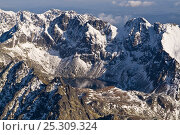 Купить «Aerial view of corrie lake surrounded by mountain peaks in the High Tatras. Slovakia, September 2008.», фото № 25309324, снято 15 августа 2018 г. (c) Nature Picture Library / Фотобанк Лори