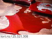 A puddle of blood and rusty knife. Murder. Стоковое фото, фотограф Сергей Лабутин / Фотобанк Лори