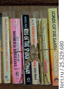 """Купить «Huntsman spider (Sparassidae) resting on paperback books including """"Kiss of the Spider Woman"""" on a shelf at the rainforest reseearch station in Gunung...», фото № 25329680, снято 27 мая 2019 г. (c) Nature Picture Library / Фотобанк Лори"""