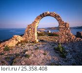 Купить «Ruins created for a film and left behind, Mana Island, Kornati National Park, Croatia, May 2009», фото № 25358408, снято 27 апреля 2018 г. (c) Nature Picture Library / Фотобанк Лори