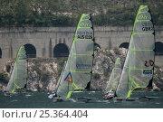 Купить «49er skiffs racing at the World Championships on Lake Garda, Italy. July 2009.», фото № 25364404, снято 28 мая 2018 г. (c) Nature Picture Library / Фотобанк Лори
