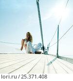 Купить «Woman sitting on the bow of a 46ft sailing yacht, cruising off the Dalmatian Coast in the Adriatic sea, Croatia. July 2006, Model released.», фото № 25371408, снято 22 июля 2018 г. (c) Nature Picture Library / Фотобанк Лори