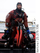 Купить «Photographer, Magnus Lundgren, in diving gear with photography equipment, Saltstraumen, Bodö, Norway, October 2008, photographed by Klas Malmberg, model released», фото № 25379196, снято 20 ноября 2019 г. (c) Nature Picture Library / Фотобанк Лори