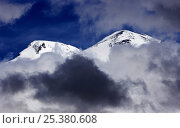 Купить «Mount Elbrus, Europes highest mountain (5,642m) surrounded by clouds, Caucasus, Russia, June 2008», фото № 25380608, снято 24 сентября 2018 г. (c) Nature Picture Library / Фотобанк Лори