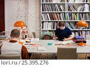 Купить «Читатели  занимаются в библиотеке», фото № 25395276, снято 11 февраля 2017 г. (c) Victoria Demidova / Фотобанк Лори