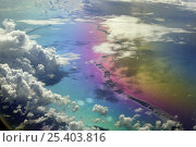 Купить «Aerial view of Rangiroa Atoll, the largest atoll of French Polynesia's Tuamotu archipelago, located in the central south Pacific Ocean. The strange colours...», фото № 25403816, снято 19 августа 2018 г. (c) Nature Picture Library / Фотобанк Лори