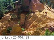 Купить «Tourists visiting the old ochre mines at Roussillon, Provence, France. June 2008.», фото № 25404488, снято 17 октября 2018 г. (c) Nature Picture Library / Фотобанк Лори