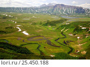 Купить «Aerial view of Shumnaya River flowing out of lake, Caldera of the Uzon Volcano, Kronotsky Zapovednik Reserve, Russia.», фото № 25450188, снято 21 мая 2020 г. (c) Nature Picture Library / Фотобанк Лори