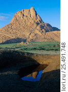 Peak of Spitzkoppe reflected in temporary pool in rain season, Namib Desert, Namibia 1997. Стоковое фото, фотограф Martin Gabriel / Nature Picture Library / Фотобанк Лори