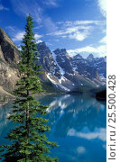 Купить «Looking over Morraine Lake to the Rockies, Banff National Park, Alberta, Canada, North America», фото № 25500428, снято 31 мая 2020 г. (c) Nature Picture Library / Фотобанк Лори