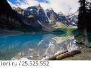 Купить «Rocky Mountains reflections in Morraine lake, Banff NP, Alberta, Canada», фото № 25525552, снято 31 мая 2020 г. (c) Nature Picture Library / Фотобанк Лори