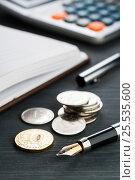 Russian coins on a dark table. Стоковое фото, фотограф Александр Якимов / Фотобанк Лори