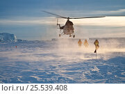 Купить «Helicopter taking off from sea ice, near Snow Hill Island, Weddell Sea, Antarctica. October 2009», фото № 25539408, снято 20 февраля 2018 г. (c) Nature Picture Library / Фотобанк Лори