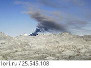 Купить «Black smoke belching from the Karymsky volcano, Kamchatka, Far East Russia», фото № 25545108, снято 5 апреля 2020 г. (c) Nature Picture Library / Фотобанк Лори