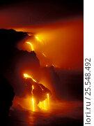 Купить «Lava flows off Lae'apuki Bench into sea during continuing eruption from Pu'u O'o, Kilauea Volcano, Hawaii Volanoes NP, Big Island of Hawaii 2000 (Non-ex).», фото № 25548492, снято 18 августа 2018 г. (c) Nature Picture Library / Фотобанк Лори