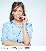 Купить «Smiling call center operator. Business woman.», фото № 25550908, снято 19 февраля 2016 г. (c) sheftsoff / Фотобанк Лори
