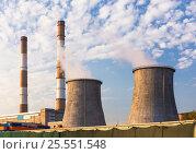 Купить «Towers of the power station», фото № 25551548, снято 23 сентября 2015 г. (c) Юрий Губин / Фотобанк Лори