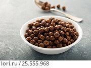 Купить «Chocolate cereals in a white bowl», фото № 25555968, снято 6 февраля 2017 г. (c) Елена Веселова / Фотобанк Лори