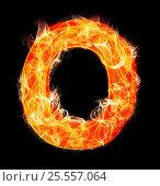 Купить «Burning letters as alphabet type O», фото № 25557064, снято 19 января 2019 г. (c) Elnur / Фотобанк Лори