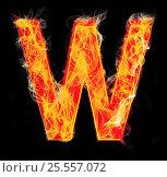 Купить «Burning letters as alphabet type W», фото № 25557072, снято 19 января 2019 г. (c) Elnur / Фотобанк Лори