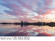 Купить «Вид на Соловецкий монастырь после заката солнца со Святого озера», фото № 25563832, снято 27 августа 2013 г. (c) Дмитрий Тищенко / Фотобанк Лори
