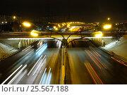 Ночной вид на Варшавское шоссе в сторону центра с развязки с МКАД (2016 год). Стоковое фото, фотограф Горбачев Матвей Владимирович / Фотобанк Лори