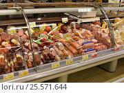 Купить «Колбасный отдел супермаркета», эксклюзивное фото № 25571644, снято 16 февраля 2017 г. (c) Юрий Морозов / Фотобанк Лори