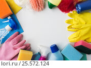 Купить «cleaning stuff on white background», фото № 25572124, снято 27 октября 2016 г. (c) Syda Productions / Фотобанк Лори