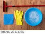 Купить «basin with cleaning stuff on wooden background», фото № 25572480, снято 27 октября 2016 г. (c) Syda Productions / Фотобанк Лори