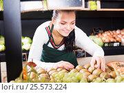 Купить «Woman seller placing kiwis», фото № 25573224, снято 23 ноября 2016 г. (c) Яков Филимонов / Фотобанк Лори