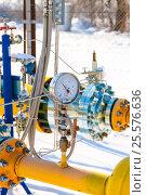 Купить «Манометр установленный на газовой трубе», фото № 25576636, снято 31 января 2017 г. (c) Игорь Дашко / Фотобанк Лори